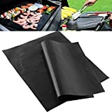 from LIVIVO LIVIVO  Pack of 2 Black Heavy Duty Reusable Non-Stick Wipe Clean Oven Liner Sheets
