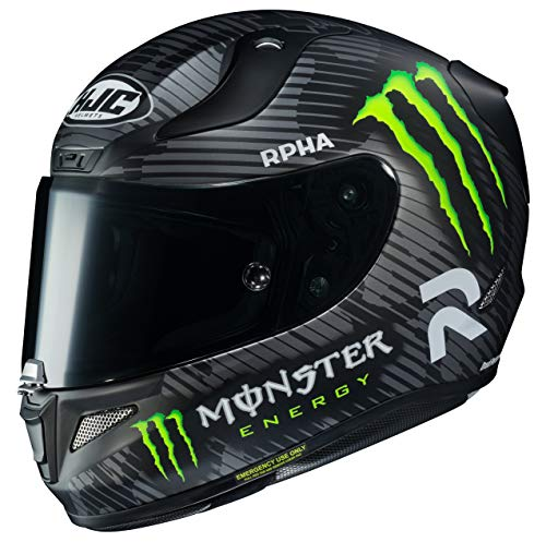 Hjc Rpha unisex da casco integrale moto 94 Special Monster grafica (nero/bianco/verde, Small)