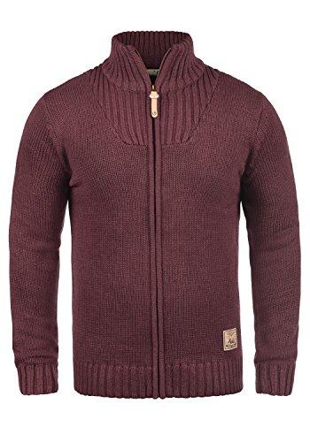 SOLID Poul Herren Strickjacke Cardigan mit Stehkragen aus hochwertiger Baumwollmischung, Größe:L, Farbe:Wine Red Melange (8985)