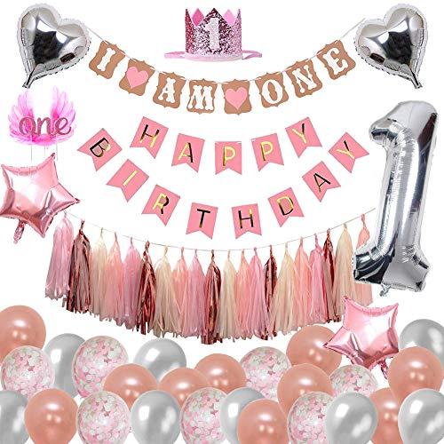 Toupons 1er Décorations d'anniversaire pour Filles, Rose Or Décoration de Fête Bébé Fille...
