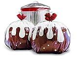 Chirstmas pudding decorato tie-handle sacchi della spazzatura–festive scatola di carta regalo 8sacchi–ideale come regalo o Fun Recyling