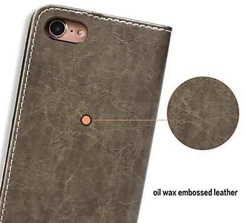 """Coque iPhone 8, SsHhUu [Peace Dove] Etui Portefeuille en Cuir PU Premium avec Fermeture Magnétique et Stand et Porte Cartes avec Stylet + Lanyard pour Apple iPhone 7 / iPhone 8 (4.7"""") Noir Gris"""