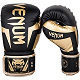 Venum Elite Gants de Boxe Mixte Adulte, Noir/Or, 12 Oz