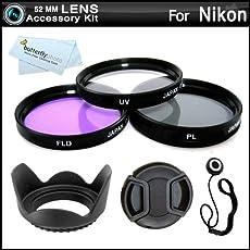 52MM Professional Lens Accessory Kit for NIKON Df DSLR (D5100 D5200 D5300 D3100, D40 D60 D80 D3200) - Includes Filter Kit (UV, Polarizing, Fluorescent) + Pouch + Lens Hood + Snap-On Lens Cap + Cap Keeper + More. Fits (18-55mm, 55-200mm, 50mm) Nikon Lenses