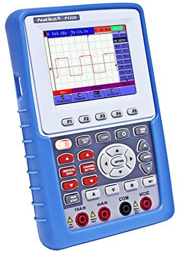 """PeakTech 1220 - 1-Kanal Speicher-Oszilloskop (20MHz) & True RMS Multimeter mit USB-Schnittstelle & 3,8\"""" Farbdisplay, Tragbares DSO, Digitales Speicher Hand-Oszilloskop inkl. Koffer mit Zubehör"""