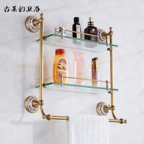 Redhj torre pendente blu e bianco in vetro ceramico di rame ripiano orientali cosmetici cremagliera doppia barra di asciugamani da bagno rack di antiquariato, doppia pole con asta