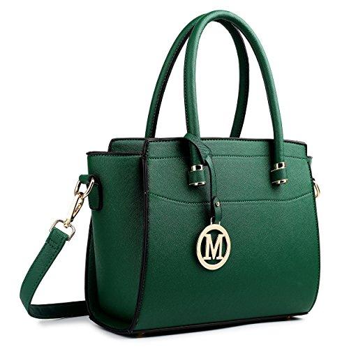 Miss Lulu , Damen Schultertasche M Kleine Ledertasche Shopper Handtasche Faux Leder (Tasche Faux-leder-handtasche Geldbörse)