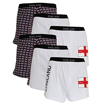 Clearance Special Offer: Mens 100% Cotton England Boxer Shorts Underwear (Pack Of 6) (L Waist 36-38inch (91-97cm)) (Navy/White)