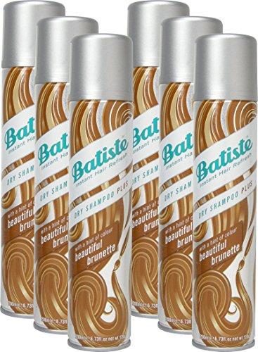 Batiste Trockenshampoo Dry Shampoo Beautiful Brunette mit einem Hauch von Farbe für brünettes Haar, Frisches Haar für alle Haartypen, 6er Pack (6 x 200 ml)