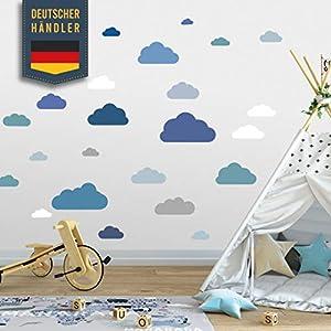 20 Teile Wolken Wandtattoo Kinderzimmer Set – Rauhfaser Wandsticker, Pastell Farben, Baby Tapete Sticker zum Kleben…