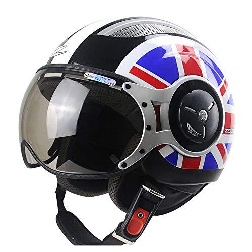 FLYFEI Mezzo Casco Moto d'EpocaCasco HarleyD.O.T ApprovatoCasco Aperto Traspirante EstivoJet Pilot Helmetper I Bambini Adulti Fuoristrada del Ciclomotore di Skateboard,XXL(61~62cm)
