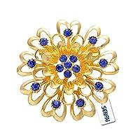 SENFAI 9 Heart Crystal Flower Brooch Jewelry Safety Pin Women Birthday Gift (Yellow)