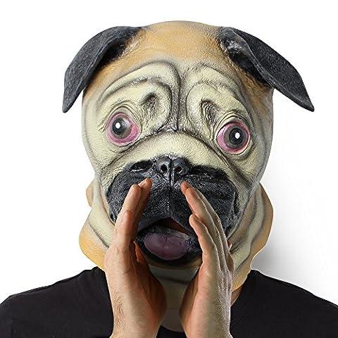 Masque Latex: Nouveauté Masque en Latex Naturel avec des ouvertures aux yeux pour Déguisement Mascarade Halloween Party la Soirée Déguisée Halloween Carnaval Déguisement Mascarade Cosplay (Chien)