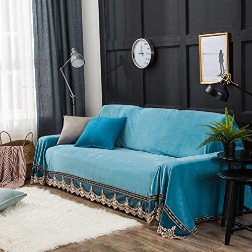 Peluche] Housses de canapé Solid color Housses canapé Couverture de canapé Couverture de baie vitrée Tapis À 1,2,3,4 coussin couvre-meubles protector-bleu ciel Siège simple200x200cm(79x79inch)(1PCS)