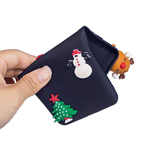 Cover iPhone 6 Plus Natale Santa Custodia Bello 3D Cartoon Sollievo Proiezioni Modello Albero Natale Pupazzo Neve Cervo Mottif Ultra Magro Sottile Silicone TPU Case Gomma Flexible Caso Colore Puro Fre Cervo Nero