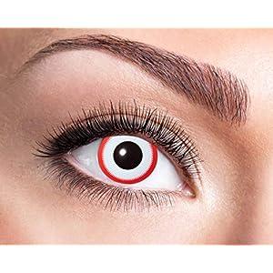 Farbige Wochenkontaktlinsen weiß mit rotem Ring Halloween Karneval Party