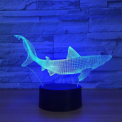 3D Night Light Display Glow 7 Cambio de Color USB Touch Button Y Control Remoto Inteligente Mesa de Escritorio Iluminación Agradable Regalo Decoraciones para el Hogar Juguetes (Pescado)
