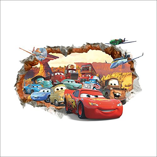 Kibi 3d Wandaufkleber Cars , Wandsticker Cars Disney Cartoon, Gebrochene Wand Wandtattoo Cars Kinderzimmer, Wohnzimmer, Schlafzimmer, Dekoration, Abnehmbare Afkleber Wall stickers PVC 50 (W) x 70 (H) CM (Kinder-wand-sticker-cars)