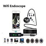 Hangang Wireless Endoskop, Borescope Wifi Inspektionskamera mit IP68 wasserdicht 2.0 Megapixel für Samsung iPhone MAC Laptop Windows Android USB IOS Endoskope(2M)