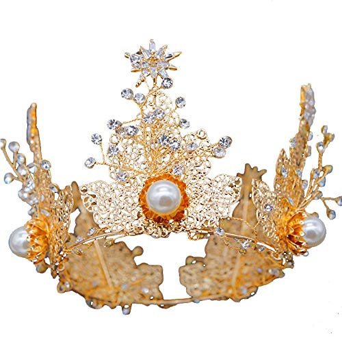 Kostüm Flügel Festzug Für - ZLYFS Kopfschmuck Hochzeit Goldene Braut-Kronen-Kopfschmuck-Barocke Kronen-Hochzeits-Flügel Bügelbild Krone