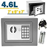 Safe Box 23 x 17 x 17 cm Massiv Stahl Digital Electronic Cash Sicherheit Sicherheit Box Offenes Feuer 2 Schlüssel Pin-Nummer Code für Home Office Store Easy Installation (Schwarz), Grau