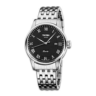Mens Business Casual Analogue Watch, Unique Roman Numeral Quartz Watches Fashion Classic Wrist watch Water Resistant…
