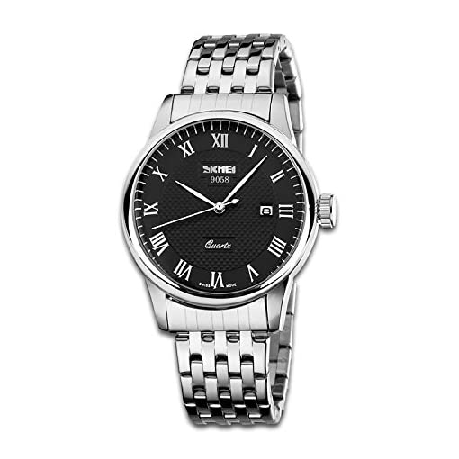 Mens Business Casual Analogue Watch, Unique Roman Numeral Quartz Watches Fashion Classic Wrist watch Water Resistant Stainless Steel Case Band – Black