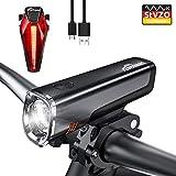 Toptrek Fahrradlicht StVZO Zugelassen LED Fahrradbeleuchtung Set, akku USB Wiederaufladbare 2600mAh Samsung Batterie, LF08, Schwarz