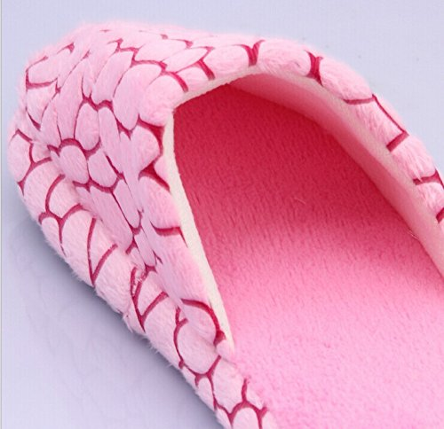 Minetom Unisexe Hiver Pantoufles Polaire Coral Soft Patterned Chaussures Europe Taille Rose