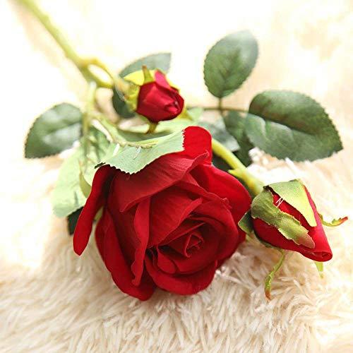 1 x rosa artificiale in flanella fiore finto regalo 36,8 cm lungo stelo per san valentino, festa della mamma, anniversario, compleanno, casa, giardino, festa di nozze, veyikdg, b, misura unica