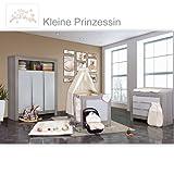 Babyzimmer Felix in akaziengrau 10 tlg. mit 3 türigem Kl. + Set Kleine Prinzessin Beige