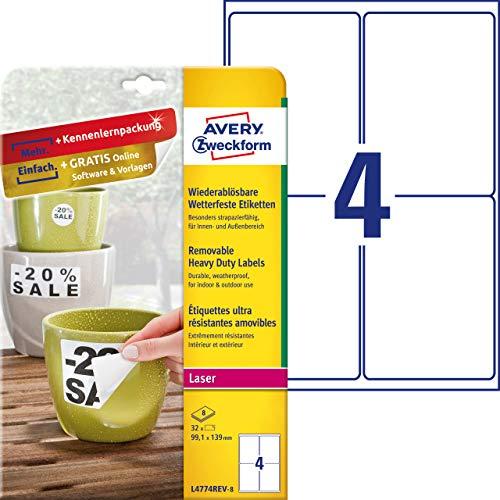 Avery Zweckform l4774rev di 8Outdoor Pellicola di etichette (A4, 32Etichette, resistente agli agenti atmosferici, residui, 99,1X 139mm) 8fogli, bianco