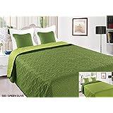 Zweiseitige Tagesdecke Bettüberwurf 3Tlg. 220x240 +2 Kissenbezüge Vigo II 035 Oliv/Grün
