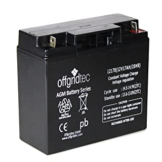 Offgridtec AGM Solar Batterie für zyklische Anwendungen 17 Ah 12 V, 2-01-001001