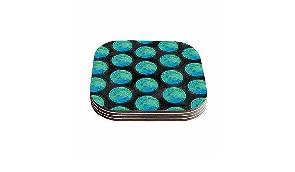 Set of 4 Multicolor 4 x 4 KESS InHouse Zara Martina MansenBlue Moon Watercolor Teal Polkadot Coasters