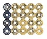 AlphaAcc - Monedas chinas de metal envejecido de la suerte para Feng Shui e intercambios de fortuna para Gymkhanas o Geocaching, 50 piezas.