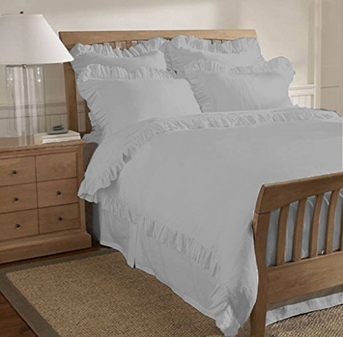 scalabedding Ägyptische Baumwolle 600 Fäden/cm² Kanten Rüschen Traditionelles 5-teilig Bettbezug King California Size Silber (Bettbezug King 600)