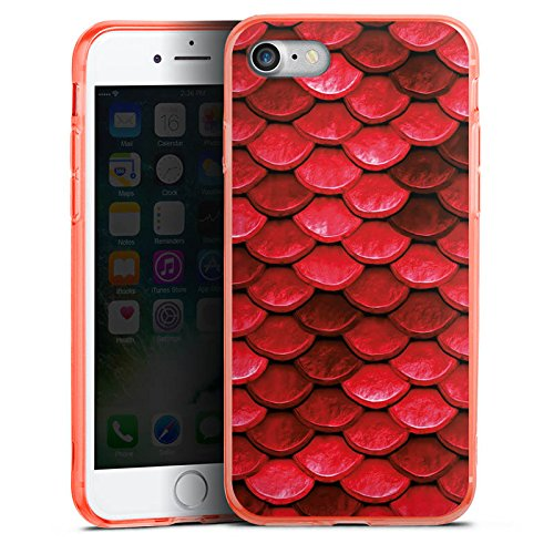 Apple iPhone 8 Silikon Hülle Case Schutzhülle Rote Schuppen Drache Muster Silikon Colour Case neon-orange