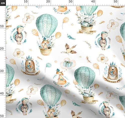 Hase, Wasserfarben, Kinderzimmer, Luftballon, Kind, Kinder, Fuchs Stoffe - Individuell Bedruckt von Spoonflower - Design von Peace Shop Gedruckt auf Baumwollstoff Klassik