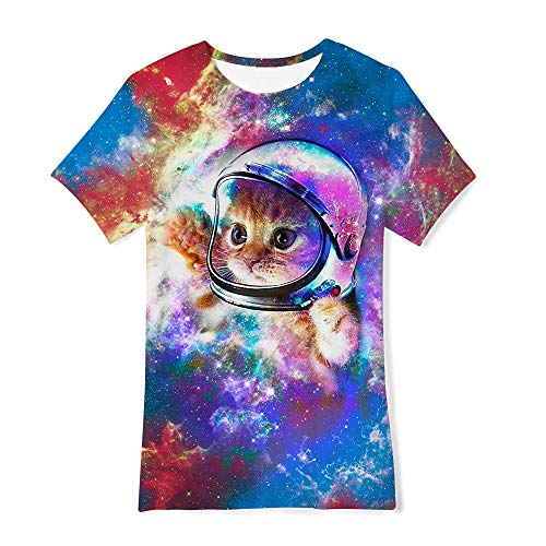 RAISEVERN Niños Niños Chicas Camisetas Verano 3D Gato Patrón...