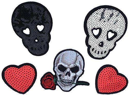i-Patch - Patches - 0038 - Stickerei - Applikation - Aufnäher - Totenkopf - Rose - Herzen - Pailletten - Aufnäher Patches - Aufbügler - Patches zum aufbügeln - Applikation zum aufbügeln - iron-on