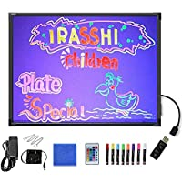 Acrylic Led Drawing Writing Board Glow Art Electronic Graphics Tablet Light Up Message Board Flashing Illuminated Erasable Doodle Scribble Board Sensory Toy for Autism