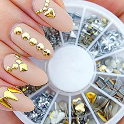 Teenxful 3D Different Shape Gold And Silver Metal Studs Nail Art Decorations Wheel For Nail Tips Design