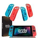 Orzly FlexiCase 4-Pack kompatibel mit Nintendo Switch Joy-Con Controller - Packung beinhaltet 2x Rote & 2x Blaue Schutzhülle [Leichtgewichtige, langlebige, flexible Gummihülle] für die Verwendung mit Linke & Rechte Nintendo Switch Joy-Con Controller
