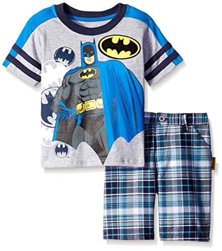 Plaid Woven Shorts (Batman Boys Jersey Tee with Woven Plaid Shorts 3T)