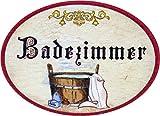 Kaltner Präsente Geschenkidee - Türschild Schild aus Holz im Antik Design BADEZIMMER