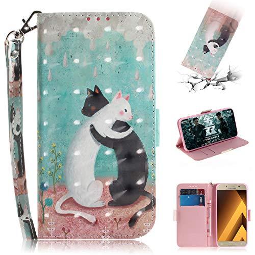 axy A3 2017 Hülle, PU Leder Tasche mit Intern Karte Schlitz, Magnetic Closure mit Standfunktion und Handy Gürtel Schutzhülle für Samsung Galaxy A3 2017 - Schwarz-Weiß-Katze ()