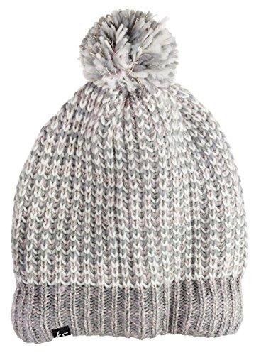 KitSound Audio Beanie Mütze Pudelmütze Chunky Knit mit Integrierten Kopfhörern und 3,5 mm Audiokabel Kompatibel mit iPod, iPhone, iPad, Smartphone, Tablet und MP3 Player - Creme-Weiß mit Grauem Glitzer -