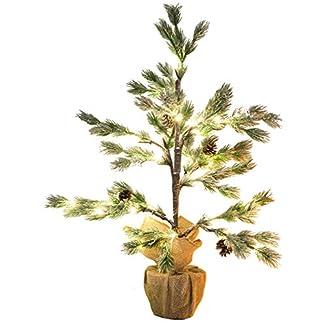 Britesta-Weihnachtsbaum-Deko-Nadelbumchen-im-Topf-mit-24-LEDs-Kunstschnee-und-Zapfen-70-cm-Beleuchteter-Weihnachtsbaum