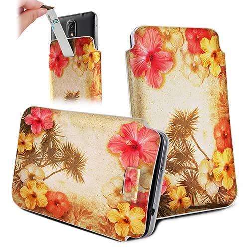 Handytasche / Handyhülle in unterschiedlichen Größen für viele Handys z.B. Samsung Galaxy S7 S6 S5 S4, iPhone 7 6s 6, LG G5 G4 G3, Sony Xperia Z6 Z5 Z4 Z3 & viele weitere Hersteller. Exklusives Design Blumen Hawai